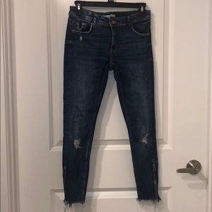 Low rise Denim Jeans with Rips and Zippers